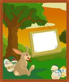 Easter plate brown. Vector image of cartoon forest with easter bunny Stock Image