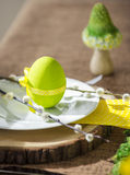 Easter plate with decor egg and catkin Stock Images