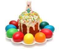 Easter on a plate decorated with eggs Royalty Free Stock Image