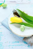 Easter plate with flower Stock Image