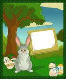 Easter plate. Vector image of cartoon forest with easter bunny Stock Photos