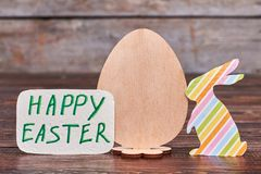 Easter and and plywood egg. Stock Photo