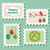 Easter postal stamps set. Illustration Royalty Free Stock Photos