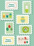 Easter postal stamps set Royalty Free Stock Photos