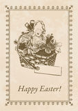 Easter Postcard. Antique Easter postcard with textured background Stock Photos