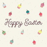 Easter postcard with colour cupcakes Royalty Free Stock Photos