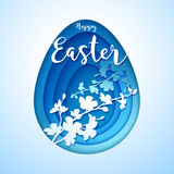 Easter postcard with cut blue colored paper egg Stock Photos