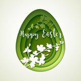 Easter postcard with cut green colored paper egg Stock Photos