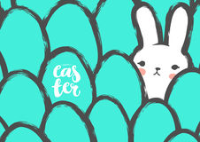 Easter Postcard with Cute Bunny and Eggs. Stock Image