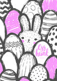 Easter Postcard with Cute Bunny and Eggs. Stock Images