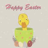 Easter postcard with cute duck. In the pot and floral elements Stock Images