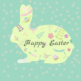 Easter postcard with cute rabbit. Easter postcard with cure rabbit and floral elements Stock Illustration