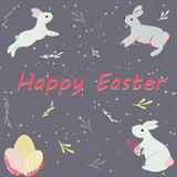 Easter postcard with cute rabbits. And floral details Stock Photos