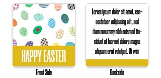 Easter Postcard. Greeting or Invitation with Different Eggs. Front Side and Backside of Postcard. Vector illustration. Easter Postcard. Greeting or Invitation royalty free illustration