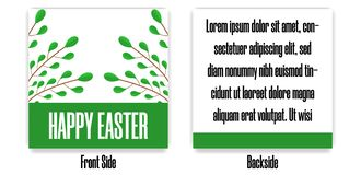 Easter Postcard. Greeting or Invitation with Green Branches. Front Side and Backside of Postcard. Vector illustration. royalty free illustration