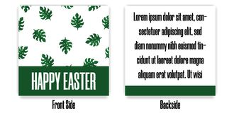 Easter Postcard. Greeting or Invitation with Green Monstera Leaves. Front Side and Backside of Postcard. Vector illustration. Easter Postcard. Greeting or vector illustration