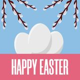Easter Postcard. Greeting or Invitation with White Eggs and Willow Branches. Vector illustration for Your Design, Web, Print. royalty free illustration