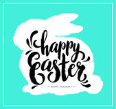 Easter Postcard with Grunge Bunny Silhouette Royalty Free Stock Photography