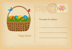 Easter postcard in vintage style with easter basket with easters eggs and grass. Happy easter celebration greetings card Royalty Free Stock Images