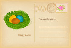 Easter postcard in vintage style with easter eggs and grass nest. Happy easter celebration greetings card. Vector Stock Photography