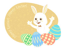 Easter postcard white rabbit, painted eggs, congratulatory inscriptions. stock illustration