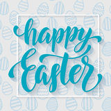 Easter poster blue design with seamless egg pattern background. Easter poster design blue calligraphy and seamless blue egg pattern background. Vector Stock Photo