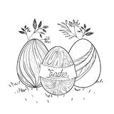 Easter poster with decorative easter eggs in monochrome silhouette. Vector illustration Royalty Free Stock Photo