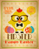 Easter poster design hipster style,with chicken Stock Image