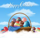 Easter poster design with many eggs in basket Stock Images