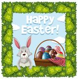 Easter poster design with rabbit and eggs in basket Royalty Free Stock Photo