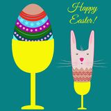 Easter poster with egg and bunny. Vector. Illustration Royalty Free Stock Images
