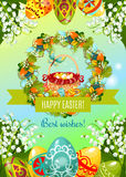 Easter poster with egg hunt basket and flowers Royalty Free Stock Images