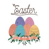Easter poster with eggs and ornament floral in colorful silhouette. Vector illustration Royalty Free Stock Photos