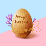 Easter poster with gold ribbon and crocus flowers Stock Photos
