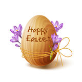 Easter poster with gold ribbon and crocus flowers Stock Photo