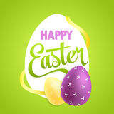 Easter poster with realistic eggs on colorful Royalty Free Stock Photos