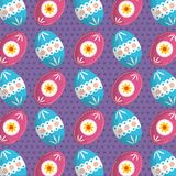 Easter poster on a repeating decorated egg pattern. Vector illustration Stock Photo