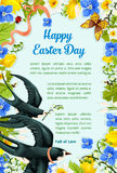 Easter poster swallows, vector paschal flowers Stock Photo