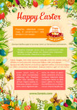 Easter poster template with egg and floral frame Royalty Free Stock Photo
