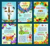 Easter poster template of egg, flower, cake, cross Stock Photography
