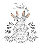 Easter poster with two easter bunnies behind of easter egg with floral decoration in monochrome silhouette. Vector illustration Royalty Free Stock Image