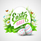 Easter poster. Vector illustration. Easter poster with eggs and flowers. Vector illustration Stock Photos