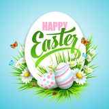 Easter poster. Vector illustration. Easter poster with eggs and flowers. Vector illustration Stock Photography