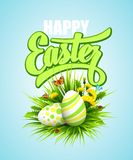 Easter poster. Vector illustration. Easter poster with eggs and flowers. Vector illustration Vector Illustration