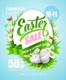 Easter poster. Vector illustration. Easter poster with eggs and flowers . Vector illustration Stock Image