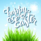 Easter poster. Vector illustration. Easter poster with grass. Vector illustration EPS 10 Stock Photo