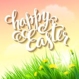 Easter poster. Vector illustration. Easter posterwith grass and flowers. Vector illustration Stock Photos