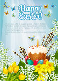 Easter poster vector paschal cake, eggs, flowers Stock Image