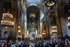 Easter prayer in the Cathedral of St. Vladimir in Kiev Stock Photo
