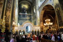Easter prayer in the Cathedral of St. Vladimir in Kiev Stock Images